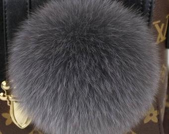 Large Pompoms Bag Charm Genuine Grey Fox Puffs Keychains