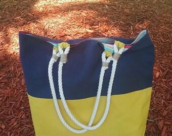 Two-Tone Large Canvas Beach Bag, Tote, Shoulder Bag