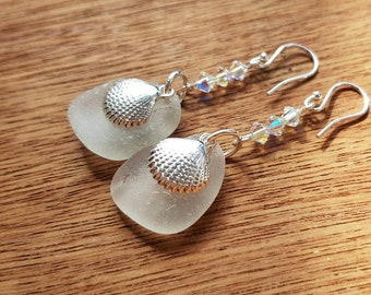 Genuine White Sea Glass Earrings, Irish Sea Glass Earrings, White Beach Glass Earrings, Sea Glass Earrings with Sterling Silver Shell Charms