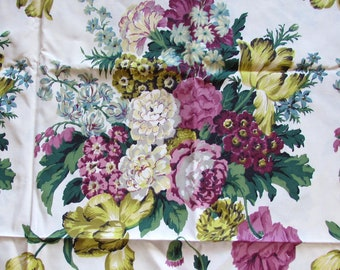 "Vintage large floral Chintz Decorator Fabric 104"" x 47"" - 1950s-60s"