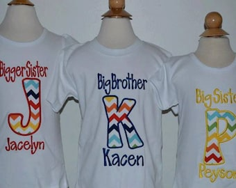 Personalized Big Little Brother Big Little Sister Initial Applique Shirt or Bodysuit Girl or Boy