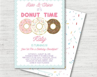 Instant Download - Editable Custom Colorful Sprinkle Donut Breakfast Party Or Baby Shower Invitations