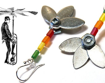Statement Jewelry Industrial Flower Earrings Unique Metal Flower Earrings Steampunk metal parts Stainless Steel Bolts and Nuts Rainbow