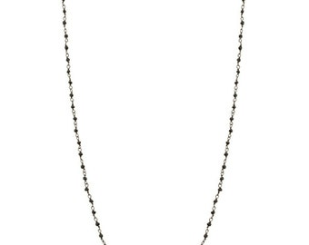 Black spinel on oxidised or gold pkated chain rosario necklace, 925 sterling silver