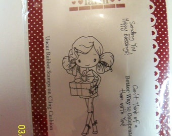The Greeting Farm: Anya Celebrates mounted rubber stamp
