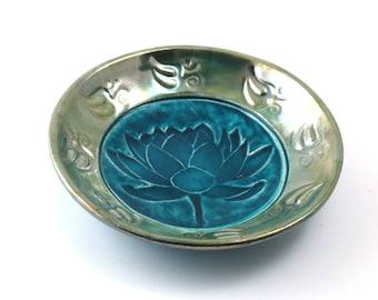 Lotus  Aum WATER LILY Bowl Handmade Ceramic Pottery
