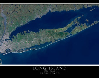 Long Island New York Satellite Poster Map