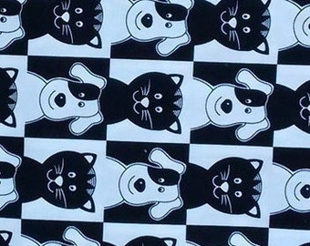 Clearance, Final Markdown, Dogs and Cats, Black and White, border print fabric, stripe fabric