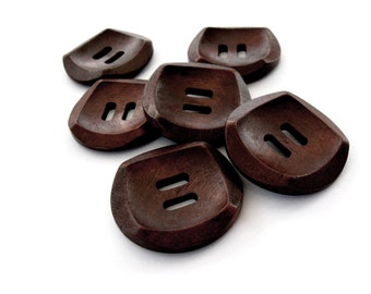 Dark Brown Wooden Sewing Buttons 30mm - set of 6 natural wood button  (BB133BB)