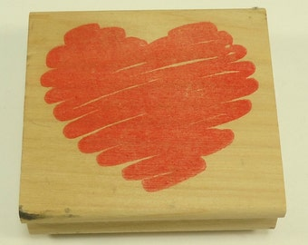Squiggle Heart Wood Mounted Rubber Stamp By Stamp Affair