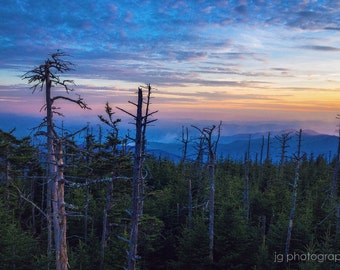 Great Smoky Mountains Sunset from Clingman's Dome (mountains, nature, national park)
