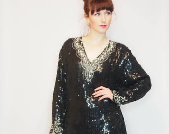 VINTAGE SEQUIN TOP - 1970s Vintage Top - Size M L - Silk Sequin Top - Beaded Top - 1980s - 1970s - Party Top - Evening Wear - Black - Silver