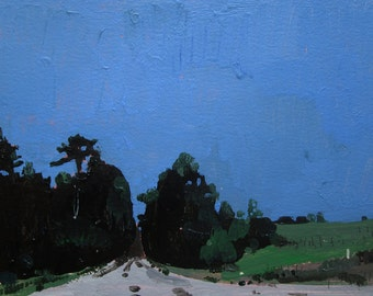 Evening Cool, Near Bobby's, Original Summer Landscape Painting on Paper, Stooshinoff