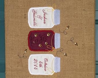 Wall Art Wedding keepsake, Burlap, Mason Jars, your choice of colors MADE TO ORDER