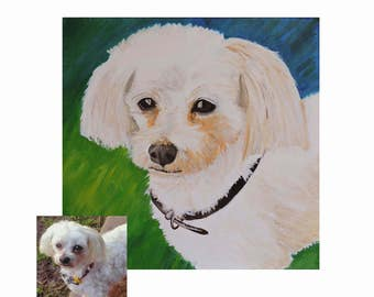 Custom Pet Painting, Custom Pet Portrait, Dog Lover Gift, Pet Canvas Art, Dog Portrait, Dog Art, Pet Loss Gift