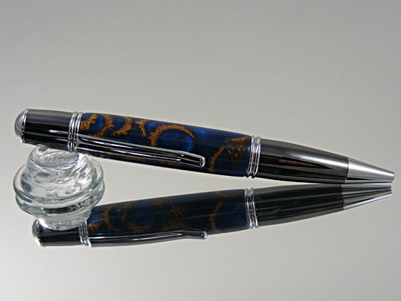 Handcrafted Ink Pen in Chrome and Gun Metal with Acorn Caps in Cobalt