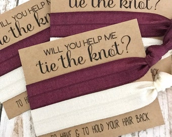 Will you help me Tie the Knot | Bridesmaid Proposal | Bridesmaid Hair Tie  Favors | To have and to hold your hair back | 2 Solids
