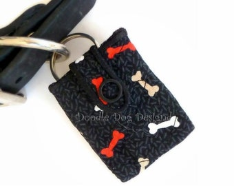 "Dog Tag Silencer, Tag Holder, Pet Tag Silencer, Tag Pouch, Dog Tag Holder, Dog Tag, Dog ID Tag, Quilted Tag Silencer, ""Black with Bones"""