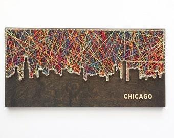 Chicago Skyline String Art, Chicago Art, Illinois Art, Chicago Skyline