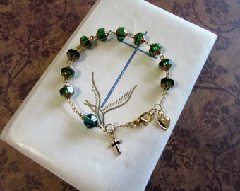 Celtic Emerald Green Rosary Bracelet