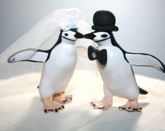 Penguin Wedding Cake Topper; Medium Animal Cake Topper; Bride and Groom; Cute; Unique; Custom; Personalized; Mr and Mrs; Wedding Cake Decor