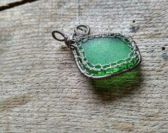 Wire wrapped pendant, sea glass jewelry, crochet sea glass pendant, gift beach glass, silver copper wire, green aqua sea foam, chain