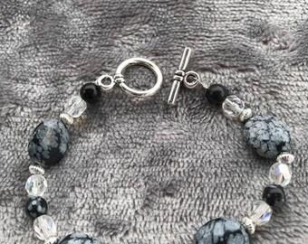 Jasper and Crystal Bracelet and Pierced Earrings