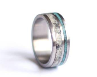 Stainless Steel Mens Wedding  Band, Antler Wedding Ring, Turquoise Wedding Ring,