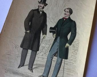 Antique Victorian Print Litho Man Fashion 1800 Saldini Editor Milan