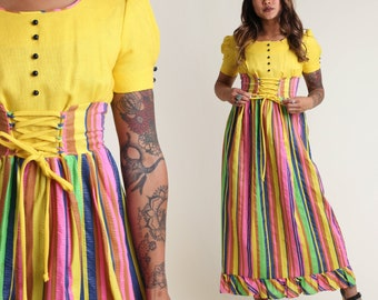 vintage 60s YELLOW + RAINBOW empire LACE up dress size xs / dirndl puff sleeve eastern european hippie dress extra small 1960s 1970s
