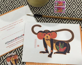 Chinese New Year Monkey Note Cards