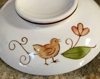 Set of 3 Saucers, Vintage Footed Saucers, Bird and Flower Design, 1960s Dining, Retro Kitchen, Vintage Dining, Vintage Plates