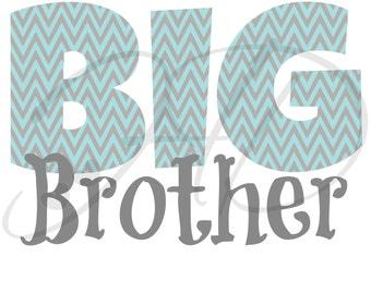 Big Brother - Blue & Gray - Chevron - Iron On - Digital Download - You Print