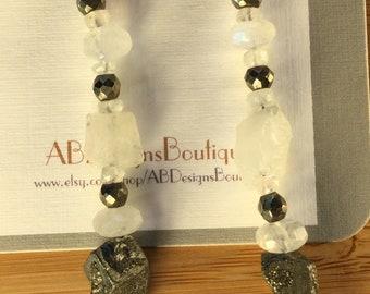 Moonstone & Pyrite Earrings