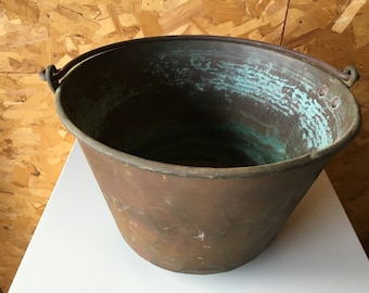 Antique Copper Cooking Pot with Wrought Iron Handle