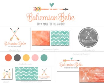 Custom Branding Package Premade Logo with Watermark for Photographers and Small Businesses Hand Drawn Watercolor Arrow with a Heart Shabby