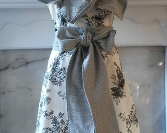 Hand made black and white toile dress