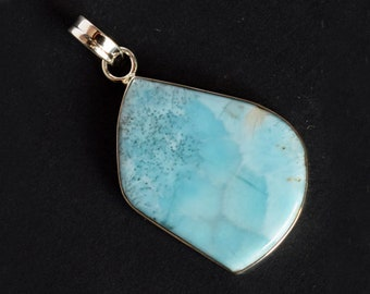 Lovely Natural Caribbean Sea Larimar Gemstone Pendant, Dominican Republic, 925 Sterling Silver Jewellery, Gift For Women Best Price FSJ-1730