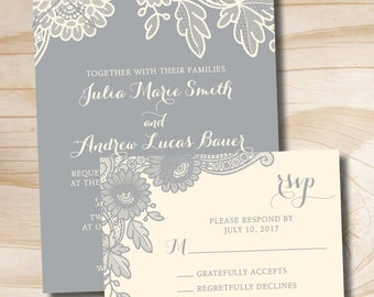 FLORAL LACE Rustic Vintage Wedding Invitation and Response Card Invitation Suite