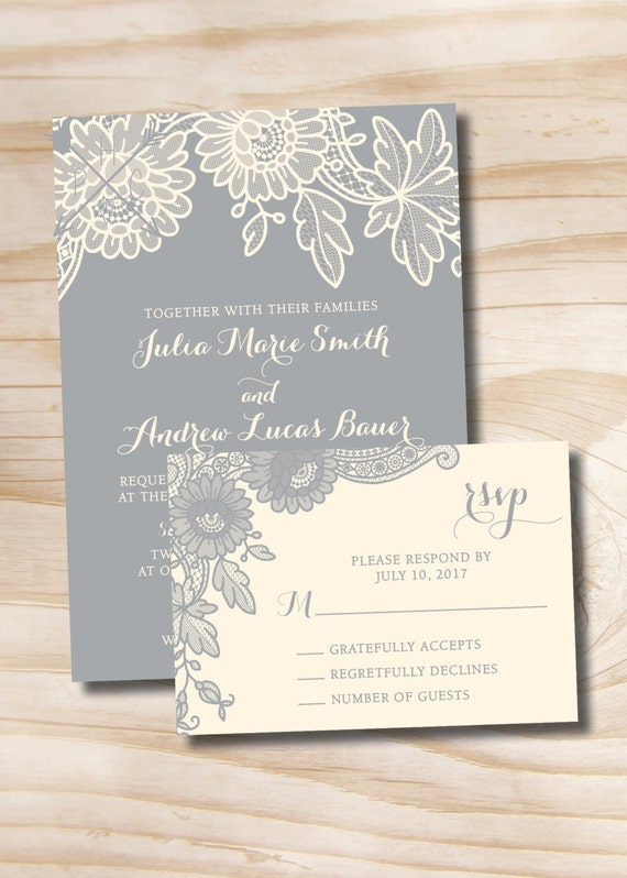 floral lace rustic vintage wedding invitation and response