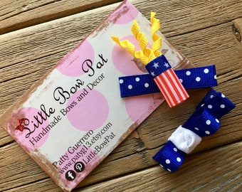 Let the Show Begin... Fourth of July Firecracker Ribbon Sculpture Hair Bow Set