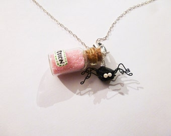 Necklace black spider in origami and pink  love potion