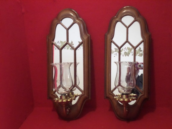 vintage home interior painted metal mirrored wall sconces with