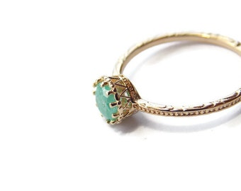 Green cz gold ring, gold filled ring, cz green crystal ring, Clear crystal gold ring, dainty gold ring