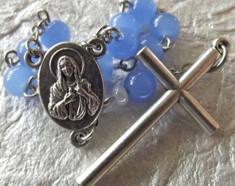 Periwinkle-Blue Catholic Pocket Rosary