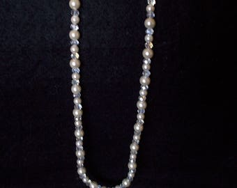 NECKLACE, White and Crystal Glass, 18 inch with magnetic fastener