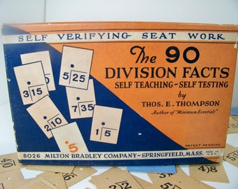 Antique School Supplies Milton Bradley Division Facts Flash Cards 1929