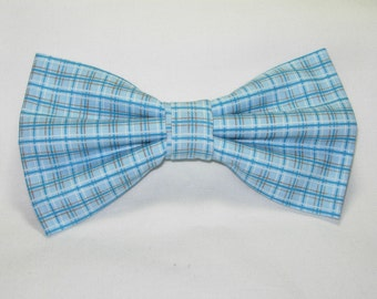 Blue & Teal Plaid Pre-tied Bow Tie | Teal Blue | Plaid bow ties | Brown Pinstripes | Wedding bow ties | Blue bow ties | bow ties for boys