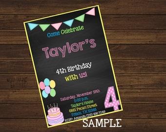 Chalkboard Birthday Invitation Custom Design