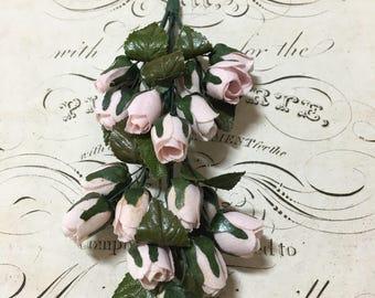 Vintage Millinery pink rosebud bunch